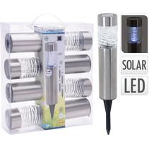 Progarden LED solarlampen set voor in de tuin van RVS