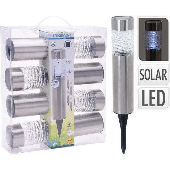 Progarden Progarden LED solarlampen set voor in de tuin van RVS
