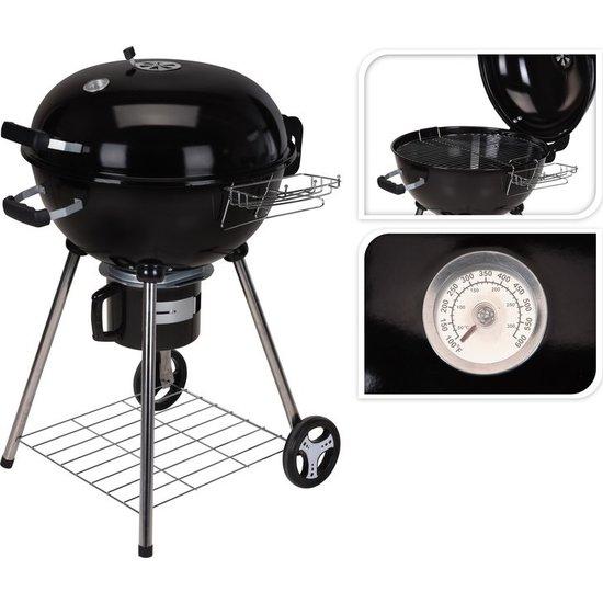 BBQ barbecue rond met wielen zwart staal 86 x 57 x 99 cm