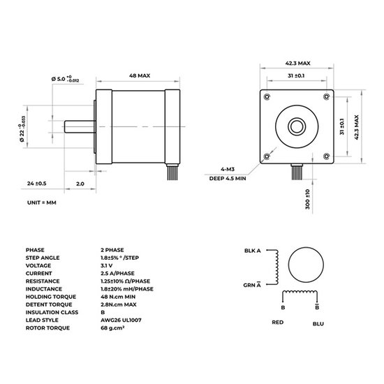 Stappenmotor 2.5 A - 1.8°