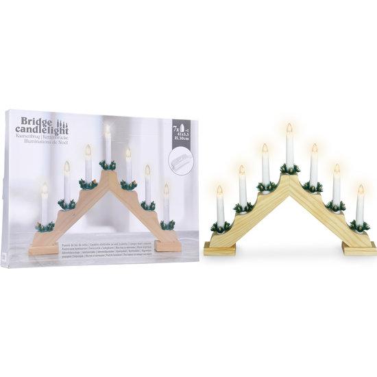 Kaarsenbrug met 7 witte lampjes - hout