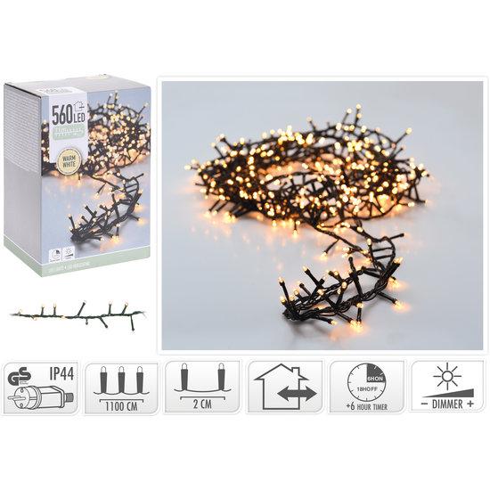 Kerstverlichting met timer en dim functie 14 meter warm wit met 560 LED's