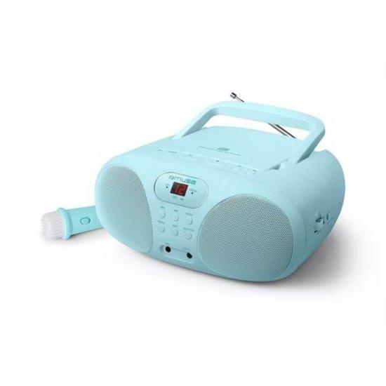 Muse Muse MD-203 KB Draagbare Radio, CD-speler met microfoon voor kinderen, lichtblauw
