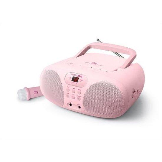 Muse Muse MD-203 KP Draagbare Radio, CD-speler met microfoon voor kinderen, roze