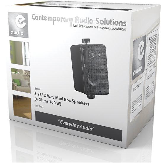 E-audio E-audio 5.25 inch 3-Weg achtergrondluidsprekers 160 Watt 4 Ohm zwart