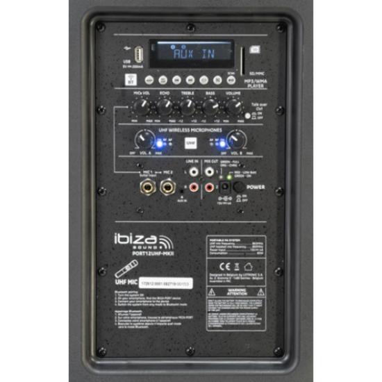 Ibiza Sound Ibiza PORT12UHF-MKII draagbaar geluidssysteem 700 Watt met accu en microfoons