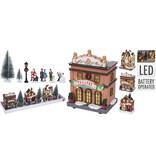 Kersttafelreel dorp met LED | 17-delig (B/O)