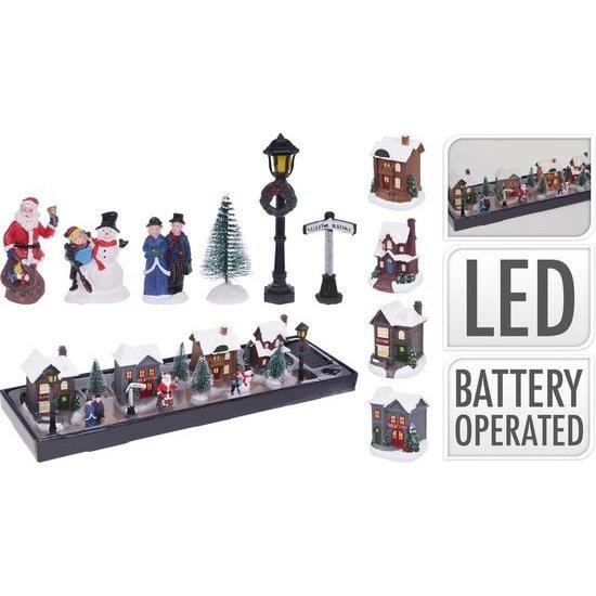 Dorp met LED set van 14 stuks