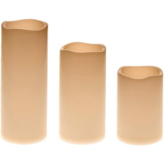 LED ivoor kaarsen geschikt voor buiten | 3-delig, IP44