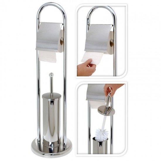 Toiletrolhouder met Toiletborstel Set RVS