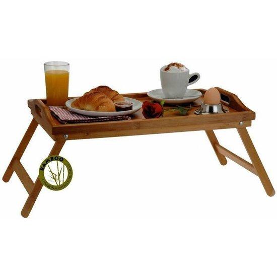 Bamboe dienblad bedtafel met inklapbare poten voor op bed