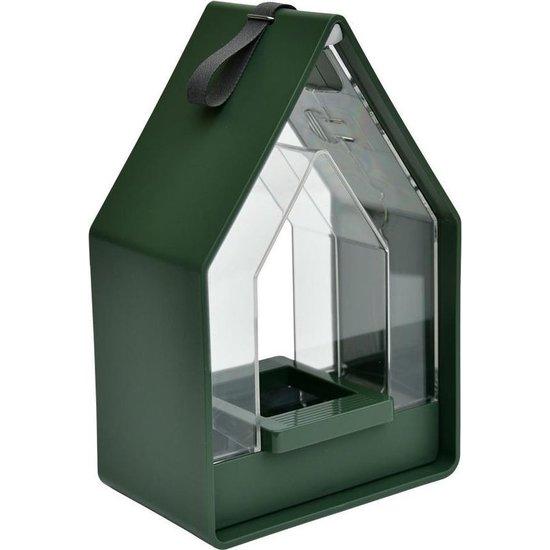 Landhaus vogelhuis met voedsel dispenser - Mosgroen