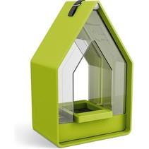 Landhaus vogelhuis met voedsel dispenser - Lime