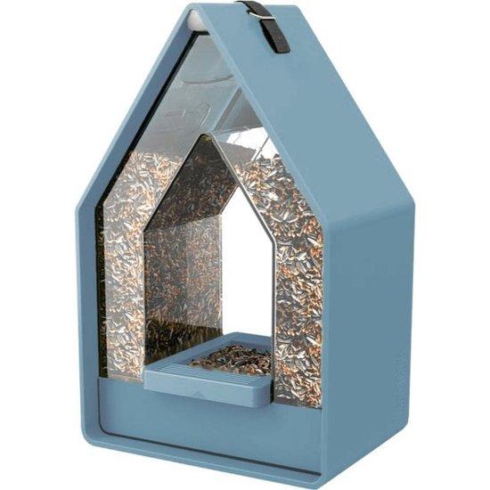 Landhaus vogelhuis met voedsel dispenser - Grijsblauw