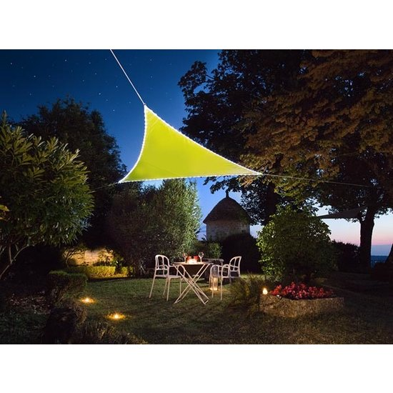 Perel Perel lime Schaduwdoek met 107 LEDS   3,6 meter + Ingebouwde zonnepaneel