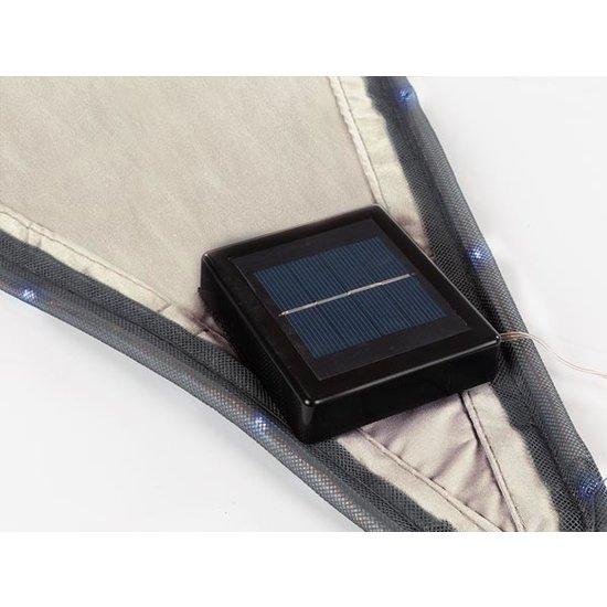 Perel Perel taupe Schaduwdoek met 107 LEDS | 3,6 meter + Ingebouwde zonnepaneel