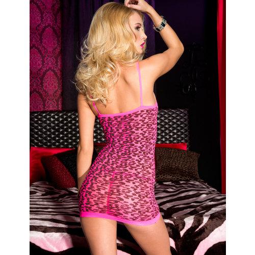 Music Legs Roze mini jurkje met luipaardprint
