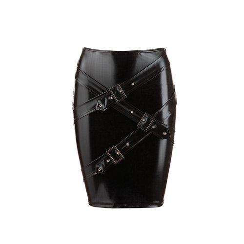 Cottelli Collection Sexy wetlook rokje met riempjes (OP=OP)