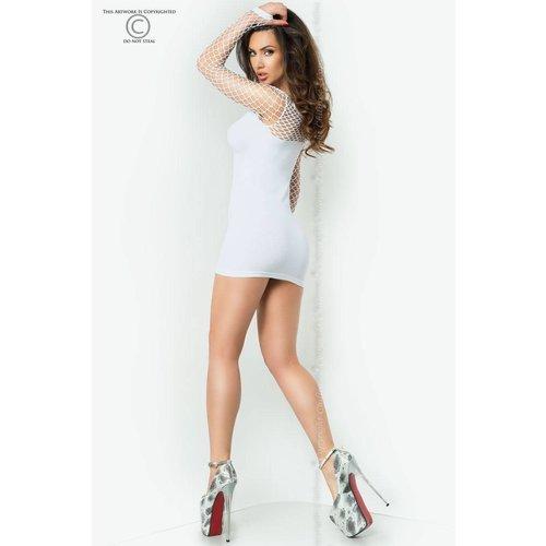 Chilirose Witte mini jurk met netstof details