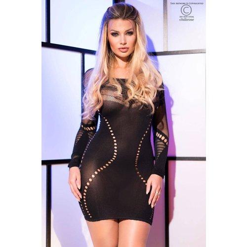 Chilirose Zwarte sensuele mini jurk