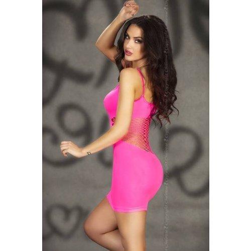 Chilirose Fluor roze mini jurk met spaghetti bandjes