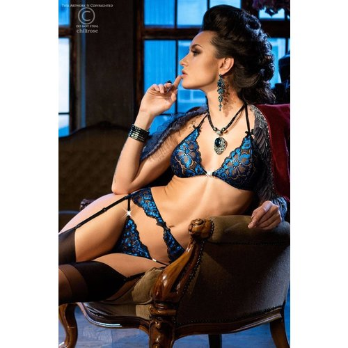 Chilirose Chique zwart / koningsblauwe driedelige lingerieset