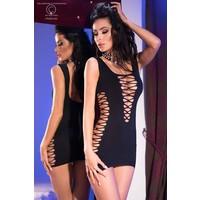 Zwarte jurk met veteruitsparingen
