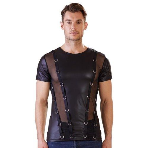 NEK Heren wetlook shirt met doorschijnende stof OP=OP