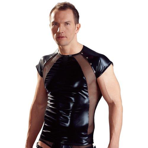 Svenjoyment Heren Shirt - wetlook met netstof