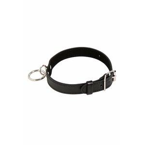 Overig Zwarte leren halsband / collar met ring
