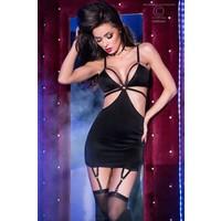 Sexy zwart satijnen mini jurkje