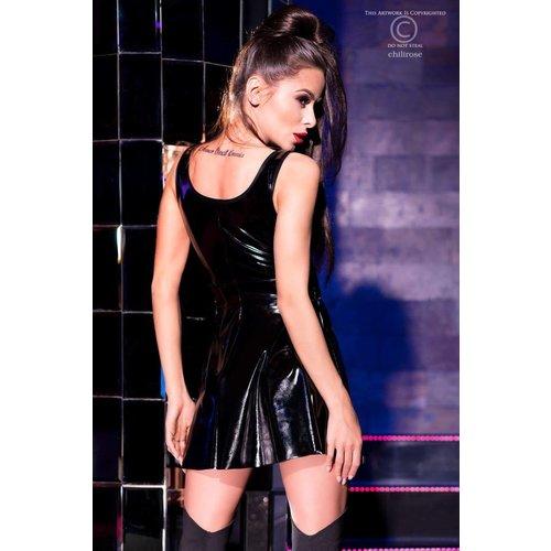 Chilirose Sexy zwart latex-look (Datex) jurkje