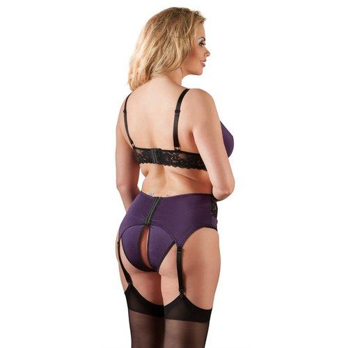 Cottelli Collection Sexy driedelige zwart / paarse lingerieset