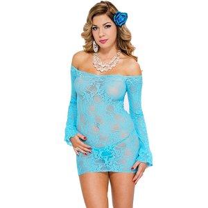 Music Legs Blauw strapless mini jurkje