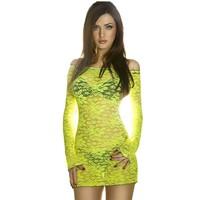 Sexy kanten mini jurk (fluor geel)