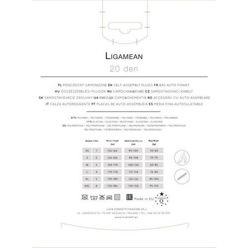 Livia Corsetti Ligamean:  zilvergrijze stay-up kousen  met strik