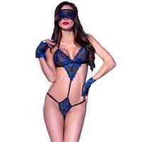 Verleidelijke zwart / koningsblauwe 3delige body
