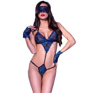 Chilirose Verleidelijke zwart / koningsblauwe 3delige body