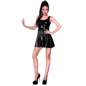 Chilirose Sexy zwart latex-look (Datex) jurkje