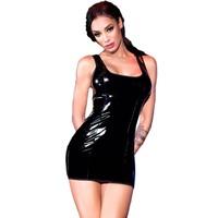Sexy zwart latex-look (Datex) jurkje
