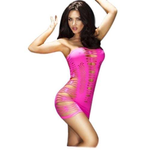 Chilirose Fluor roze strapless mini jurkje