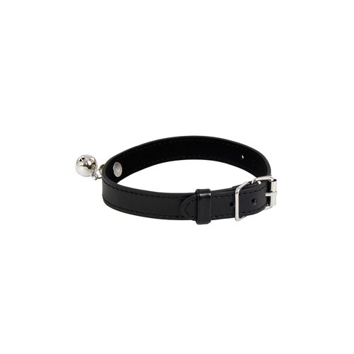 Zwarte leren halsband / collar met belletje