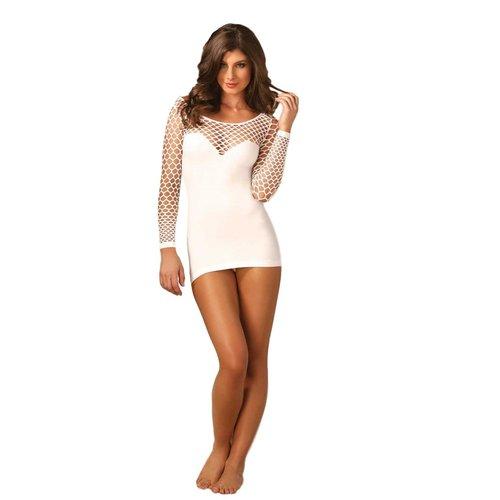 Leg Avenue Sexy wit mini jurkje met netstof mouwen