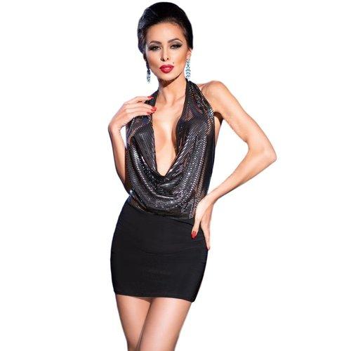 Chilirose Glinsterend zwarte mini-jurk