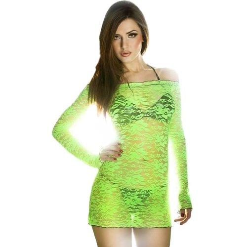 Chilirose Sexy kanten mini jurk (fluor-groen)