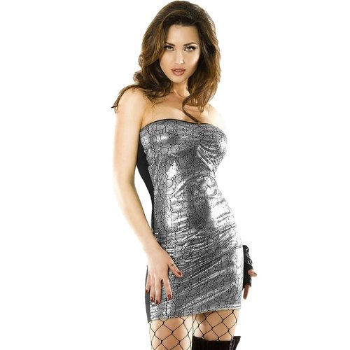 Chilirose Sexy zwart/ zilver grijze mini jurk