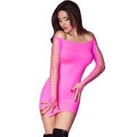 Fluor roze strapless mini jurk