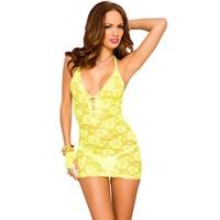 Geel kanten halter jurkje