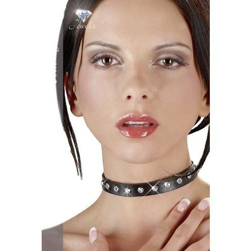 Cottelli Jewels Zwarte Imitatie Leren Halsband