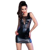 Verleidelijk zwart leatherlook jurkje